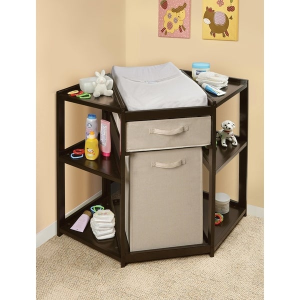 Diaper Corner Baby Changing Table with Hamper and Basket. Opens flyout.