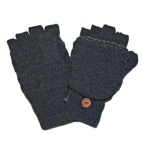 Muk Luks Men's Grey Fairisle Flip Gloves