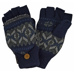 Muk Luks Navy-and-gray Polyester Sweater Vest Flip Glove Mittens