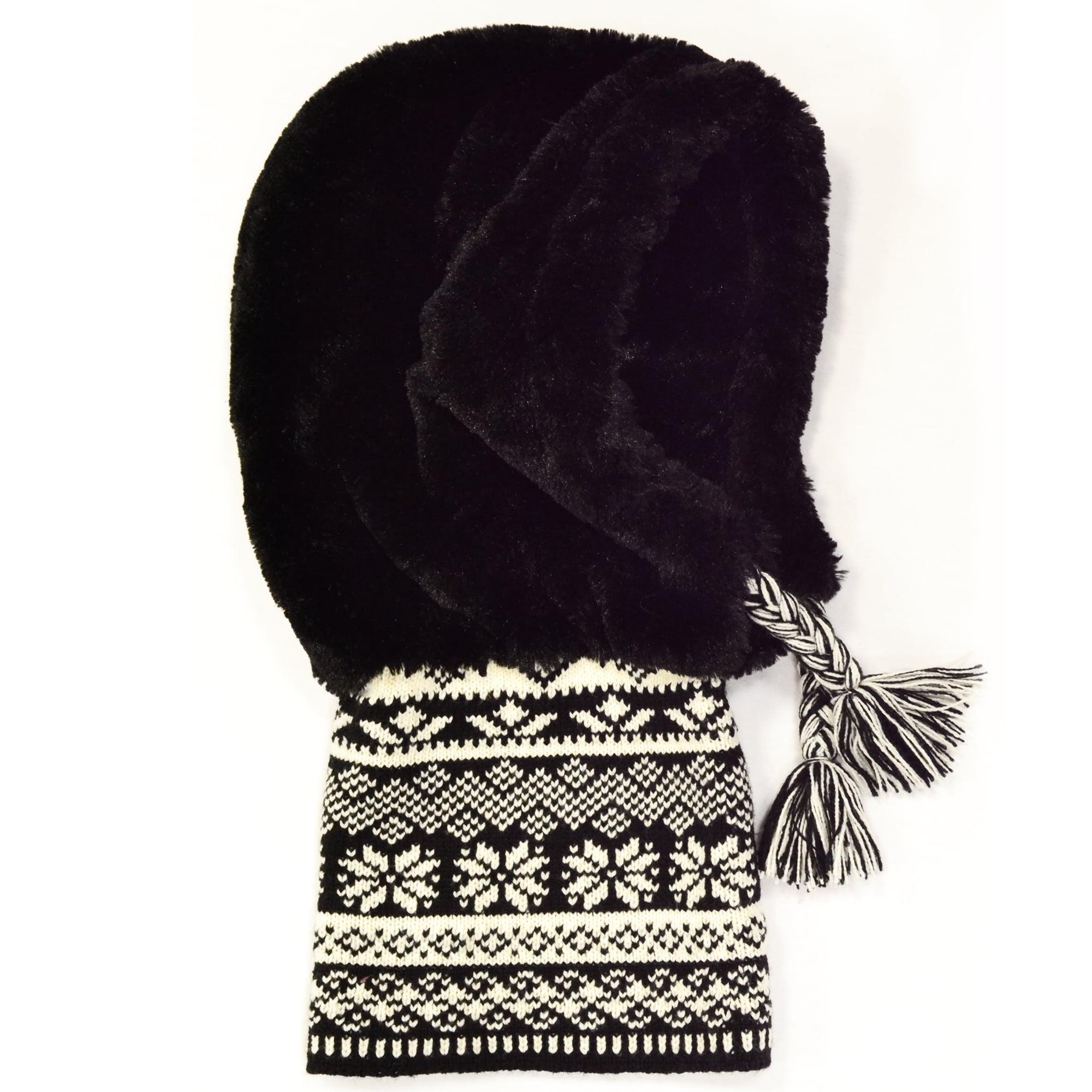 Muk Luks Women's Two-tone Knit Collar Fur Hood