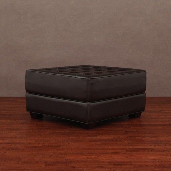 button tufted dark brown leather ottoman free shipping today 404880. Black Bedroom Furniture Sets. Home Design Ideas