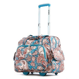 Olympia Blue Paisley Fashion Rolling Carry-On Tote Bag