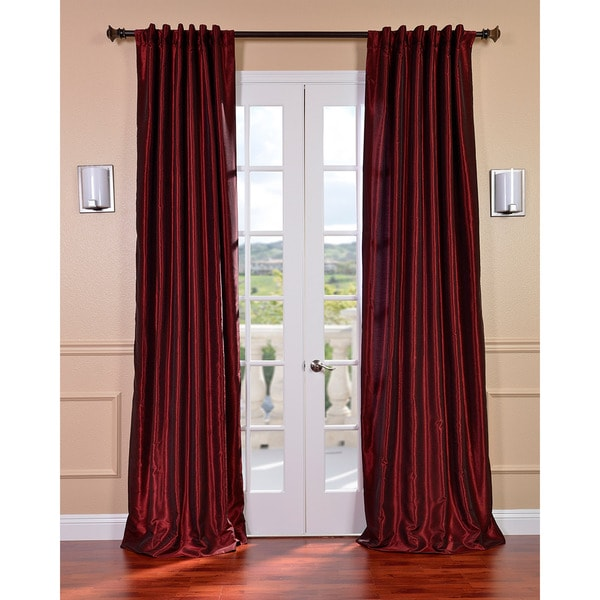 Exclusive Fabrics Ruby Vintage 120-inch Faux Textured Dupioni Silk Curtain Panel