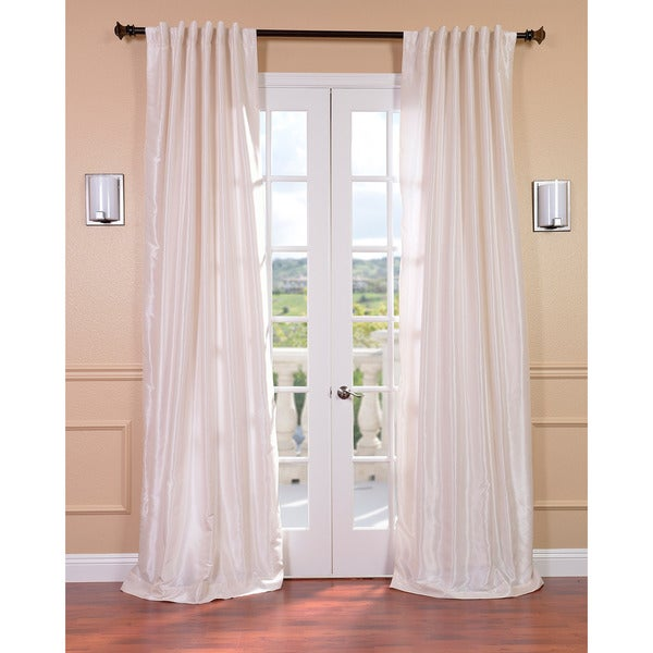 Exclusive Fabrics Off White Vintage 120-inch Faux Textured Dupioni Silk Curtain Panel