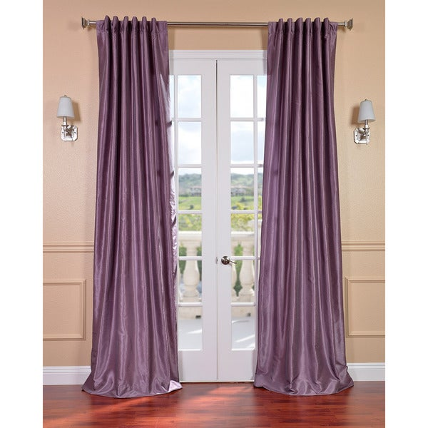 Exclusive Fabrics Smoky Plum Vintage 120 Inch Faux Textured Dupioni Silk Curtain Panel Free