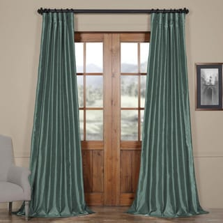 Exclusive Fabrics Peacock Vintage Faux Textured Dupioni Silk Curtain Panel