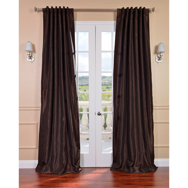 Exclusive Fabrics Coffee Bean Vintage 120-inch Faux Textured Dupioni Silk Curtain Panel