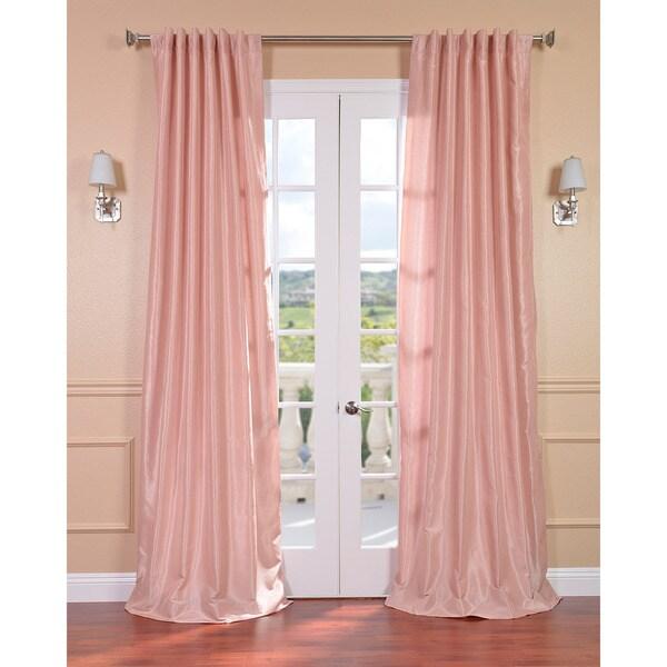 Exclusive Fabrics Blush Rose Vintage Faux Textured Dupioni Silk 84-inch Curtain Panel