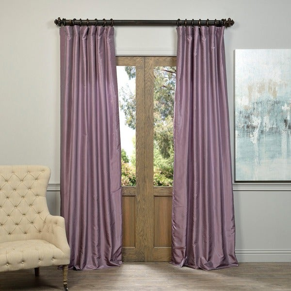 Exclusive Fabrics Smoky Plum Vintage Faux Dupioni Silk Curtain Panel