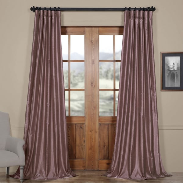 EFF Smoky Plum Vintage Faux Dupioni Silk Curtain Panel