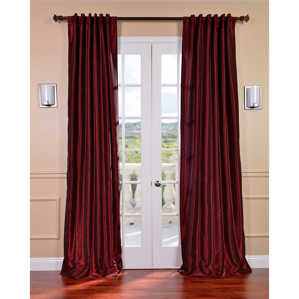 Exclusive Fabrics Ruby Vintage Faux Textured Dupioni Silk 84-inch Curtain Panel