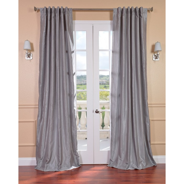 Exclusive Fabrics Silver Vintage Faux Textured Dupioni Silk 96-inch Curtain Panel