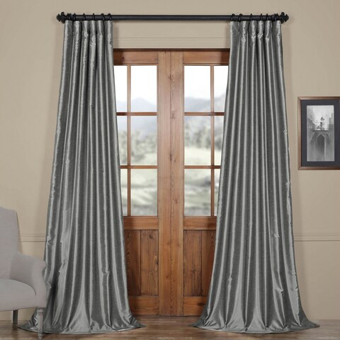 Exclusive Fabrics Storm Grey Vintage Faux Textured Dupioni Single Silk Curtain Panel