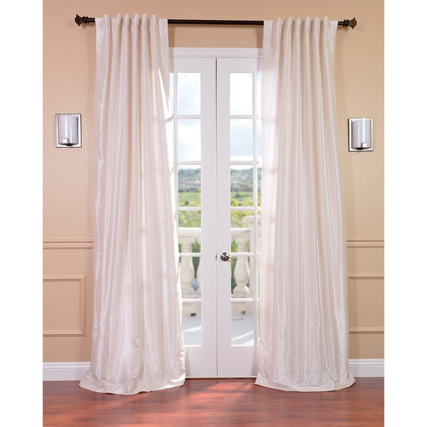 Exclusive Fabrics Off White Vintage Faux Textured Dupioni Silk 96-inch Curtain Panel