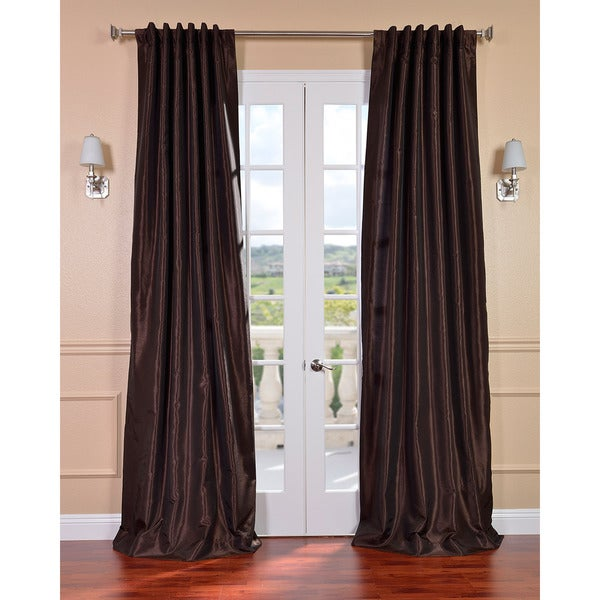 Exclusive Fabrics Coffee Bean Vintage Faux Textured Dupioni Silk Curtain Panel