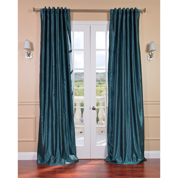Exclusive Fabrics Peacock Vintage Faux Textured Dupioni Silk 96-inch Curtain Panel