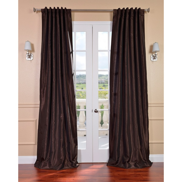 Exclusive Fabrics Coffee Bean Vintage Faux Textured Dupioni Silk 96-inch Curtain Panel