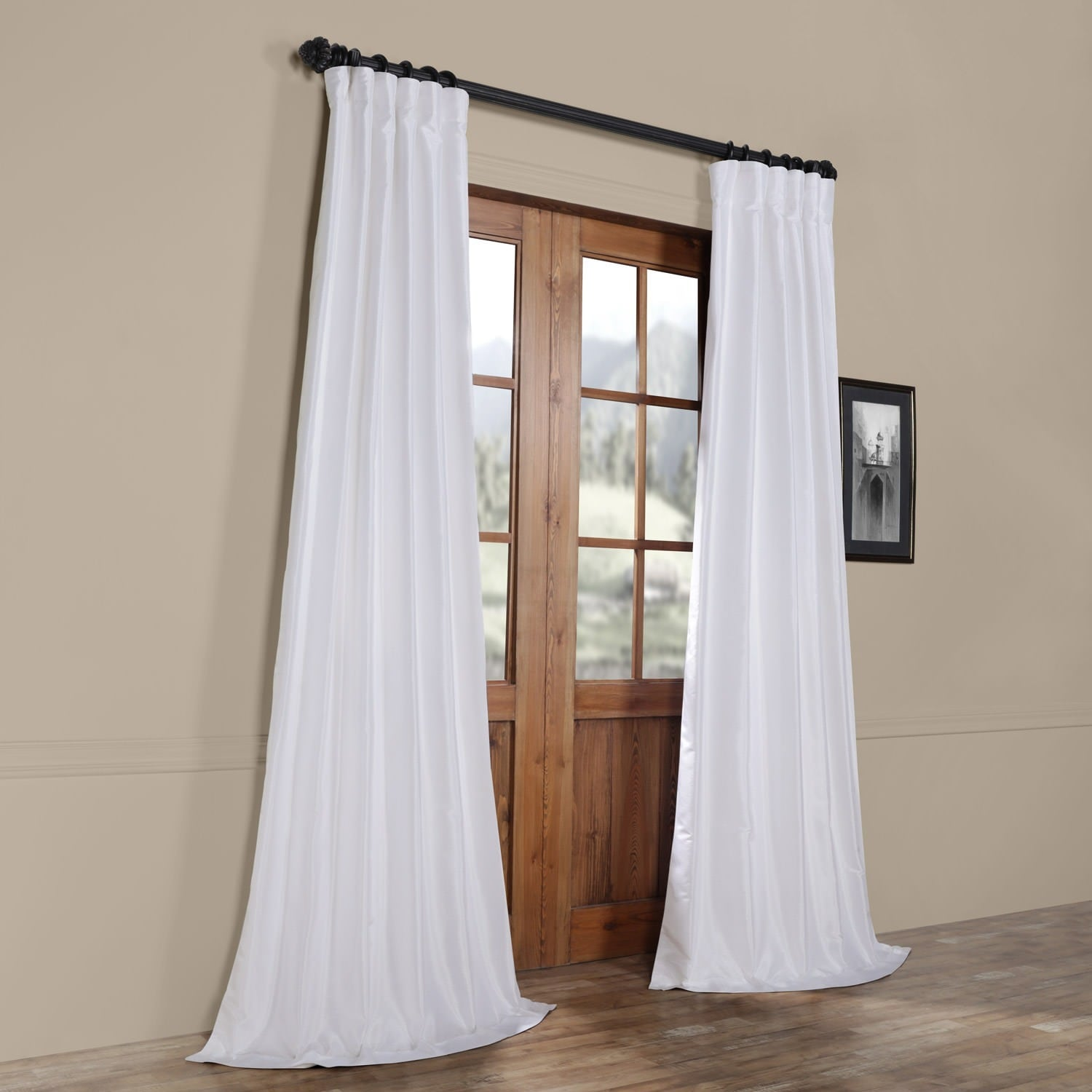 Ice White Vintage Faux Textured Dupioni Silk 108l Curtain Panel On Sale Overstock 20602770