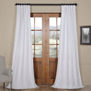 Exclusive Fabrics Ice White Vintage Faux Textured Dupioni Silk Curtain Panel