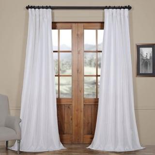 Exclusive Fabrics Ice White Vintage Faux Textured Dupioni Silk Curtain Panel