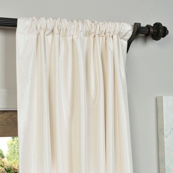 Exclusive Fabrics Off White Vintage Faux Textured Dupioni Silk Curtain Panel Free Shipping Today Com 13928924