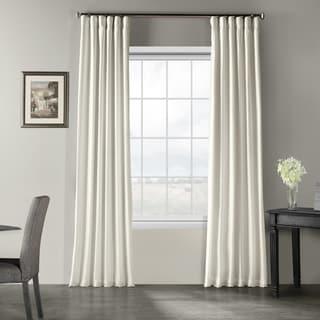 Exclusive Fabrics Off-white Vintage Faux Textured Dupioni Silk Curtain Panel
