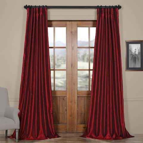Exclusive Fabrics Ruby Vintage Faux Textured Dupioni Silk 50-inch Curtain Panel