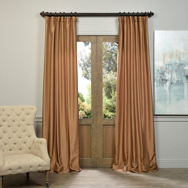 Exclusive Fabrics Flax Gold Vintage Faux Textured Dupioni Silk Curtain Panel