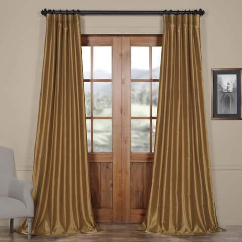Exclusive Fabrics Flax Gold Vintage Textured Silk Single Curtain Panel