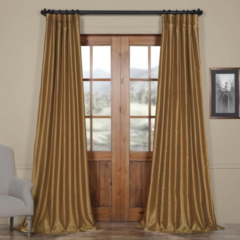 Exclusive Fabrics Flax Gold Vintage Faux Textured Dupioni Silk Single Curtain Panel