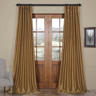 Exclusive Fabrics Flax Gold Vintage Faux Textured Dupioni Silk Curtain Panel