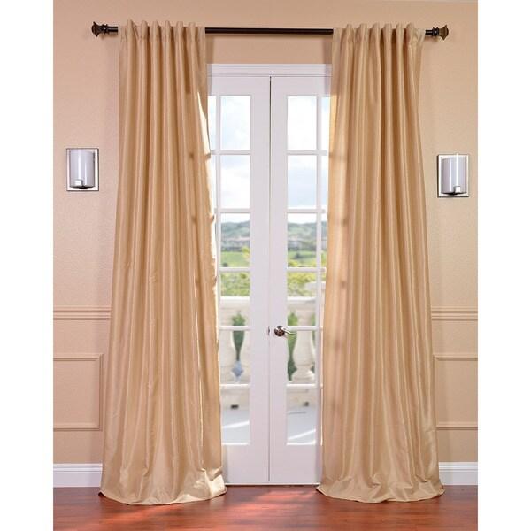Exclusive Fabrics Almond Vintage Faux Textured Dupioni Silk 108-inch Curtain Panel