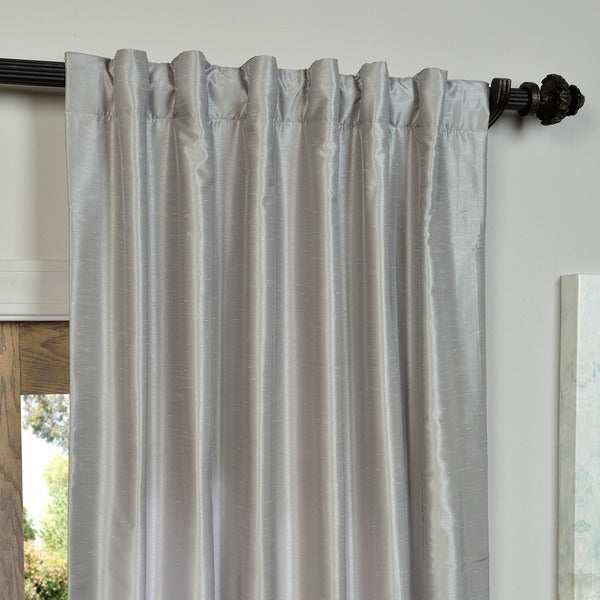 Exclusive Fabrics Silver Vintage Faux Textured Dupioni Silk Curtain Panel Free Shipping Today Com 13928939