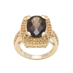 Glitzy Rocks 18k Yellow Goldplated Smoky Quartz and Citrine Oval Ring