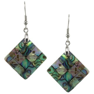 Pearlz Ocean Abalone Shell Checkerboard Square Dangle Earrings
