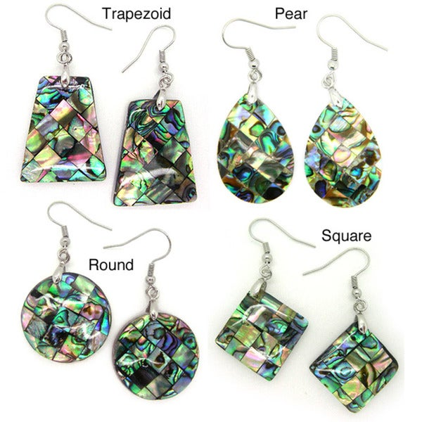 Pearlz Ocean Abalone Shell Geometric Dangle Earrings