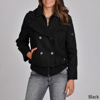 Excelled Women's Black Wool-blend Ribbed Hem Peacoat