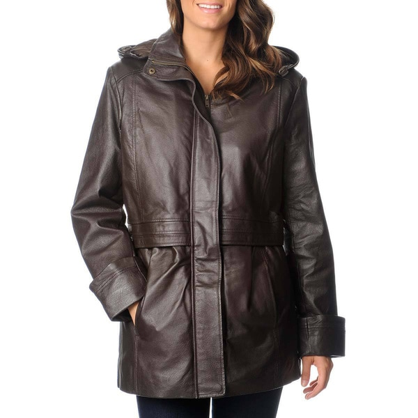 Excelled Women's Black Leather Hooded Anorak Jacket - Free ...