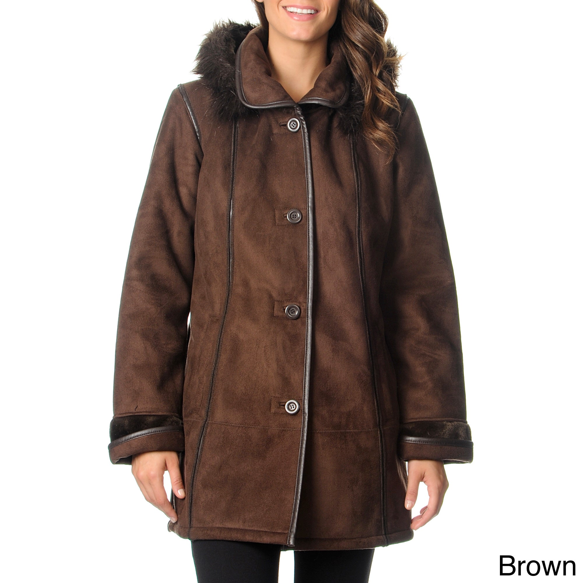 Excelled Women's Black Faux Shearling 3/4-length Coat (Br...