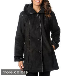 Excelled Women's Black Faux Shearling 3/4-length Coat|https://ak1.ostkcdn.com/images/products/6298344/P13929083.jpg?impolicy=medium