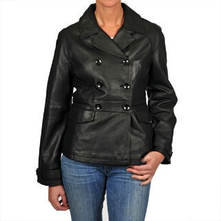 Excelled Women's Black Leather Double-breasted Jacket