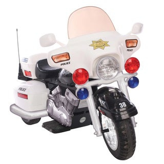 One-seater White 12V Police Patrol Motorcycle Ride-on