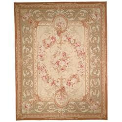 Hand-knotted French Aubusson Weave Ivory Taupe Wool Rug (12' x 15'))