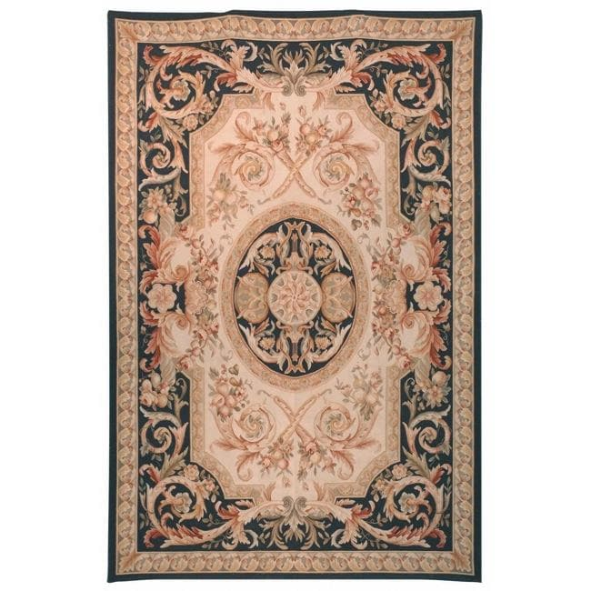 Hand Knotted French Aubusson Beige Wool Rug 9 X 12
