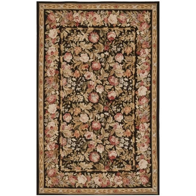 Hand-knotted French Aubusson Weave Black Wool Rug (4' x 6')