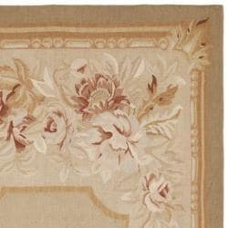 Hand-knotted French Aubusson Taupe Wool Rug (6' x 9') - Thumbnail 1