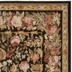 Hand-knotted French Aubusson Weave Black Wool Rug (9' x 12')