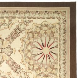 Hand-knotted French Aubusson Ivory Wool Rug (8' x 10')