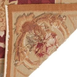 Hand-knotted French Aubusson Peach Wool Rug (6' x 9') - Thumbnail 2
