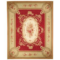 Hand-knotted French Aubusson Weave Red Taupe Wool Rug (8' x 10')